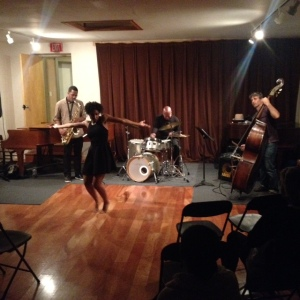 (Jinah Parker with William Hooker Trio at Firehouse Space, Oct 3, 2015, photo by Cisco Bradley)